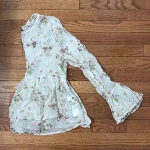 NEW Zara floral viscose babydoll ruffle top 💐